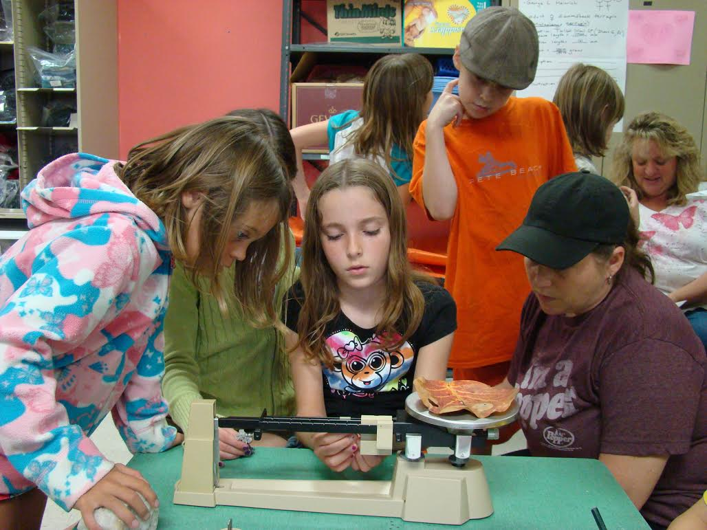 Students learning how to use scientific equipment (photograph by GLH)