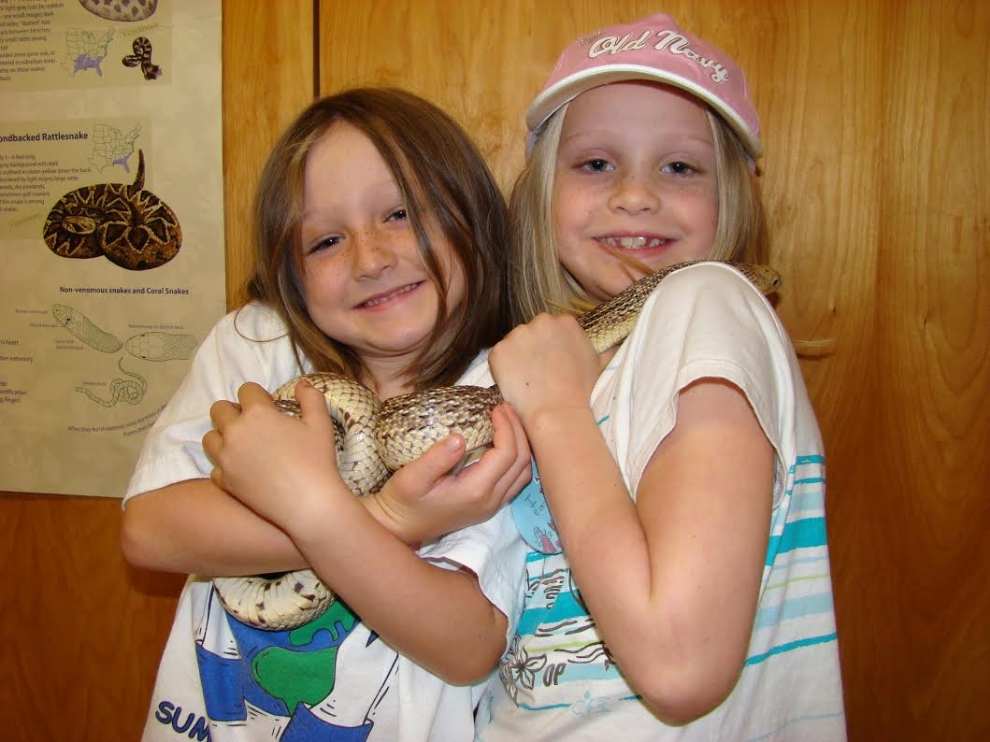 Holding snakes is one of the favorite activities during Herpetology Camp (photograph by GLH)