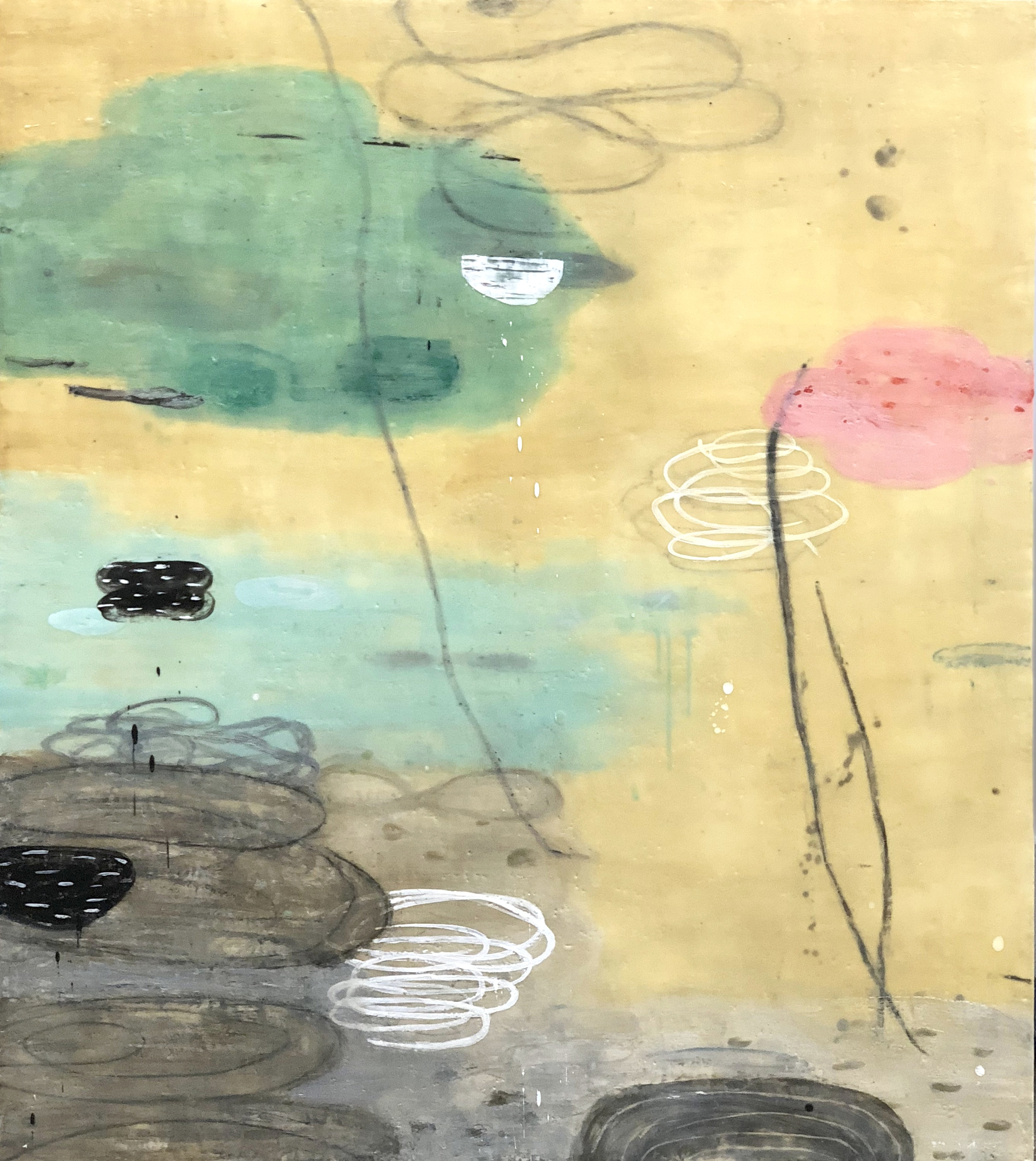 Untitled L895 48x42 encaustic on panel