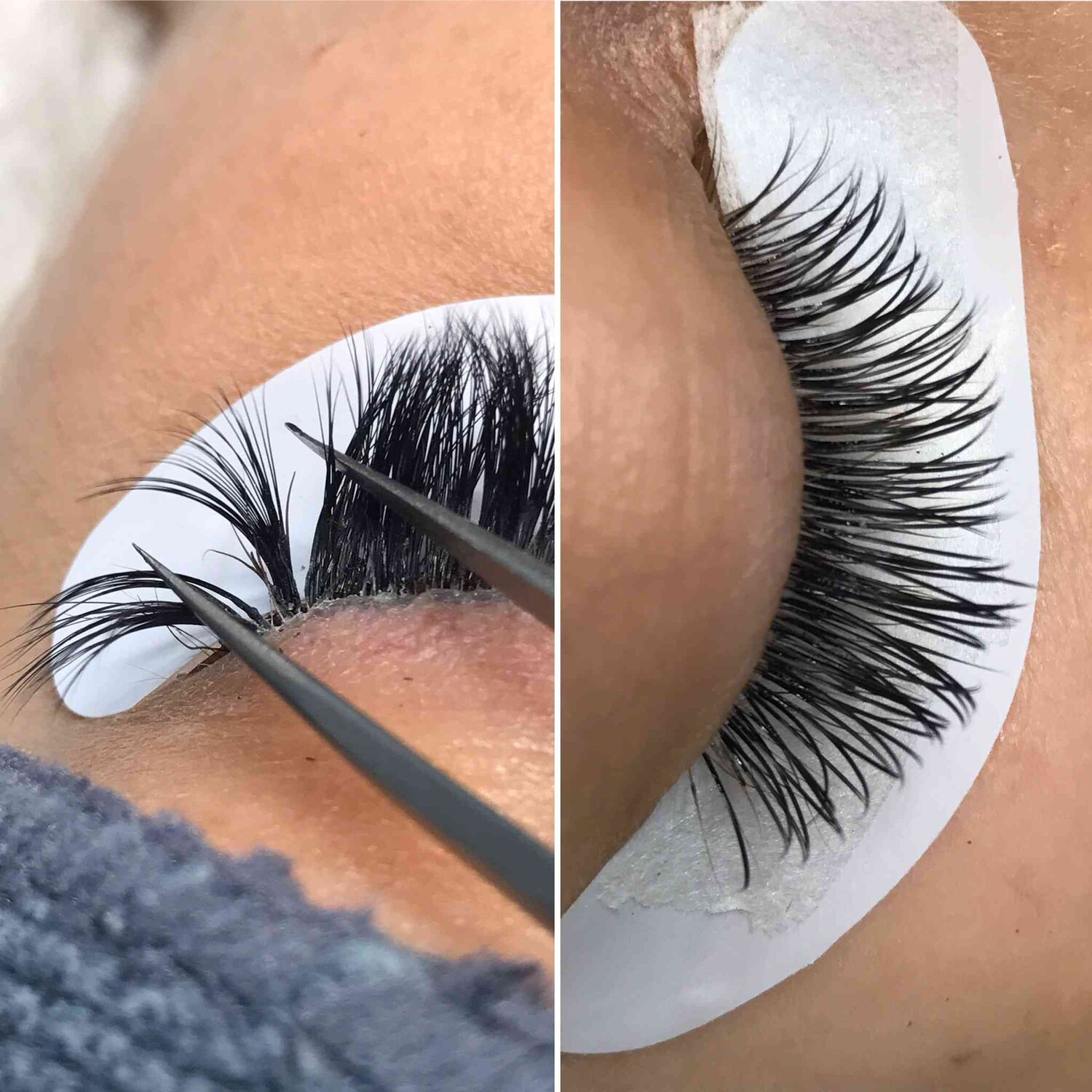 The image on the left shows an example of a client who came to us with poorly applied lash extensions - six natural eyelashes are stuck together with way too much glue applied and also sticking to eyelid skin causing irritation and pain. The image on the right shows how lash extensions should be applied when done professionally - fully isolated and close to, but not touching the skin with no irritation or swelling.