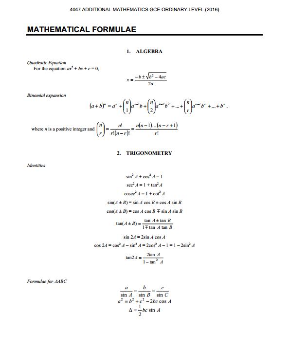 american express card online login  O Level A Maths Standard Formula Sheet — Kenneth
