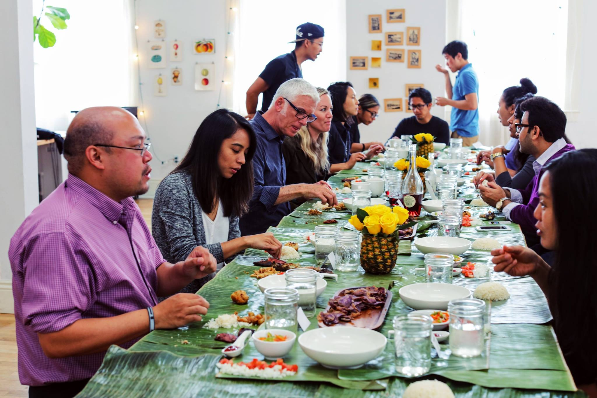 A snapshot of one of our past pop-up kamayan brunches featuring a side-by-side omnivore and vegan menu. Also when we recruited our moms to work with us in the kitchen and in hosting.