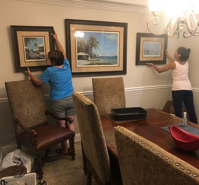 Las señoras Oliveras laying out my Trip Harrison giclées. Thankful I was able to hang onto these, sold many of my favorite originals thanks to Hurricane Matthew interrupting our charters... Who is your fav artist?  #Art  #artwork #giclée #painting #bimini #sportfish #yacht