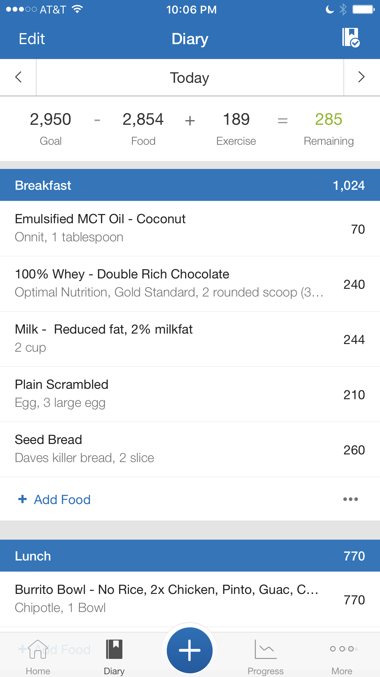 A screenshot of my daily food diary in MyFitnessPal.