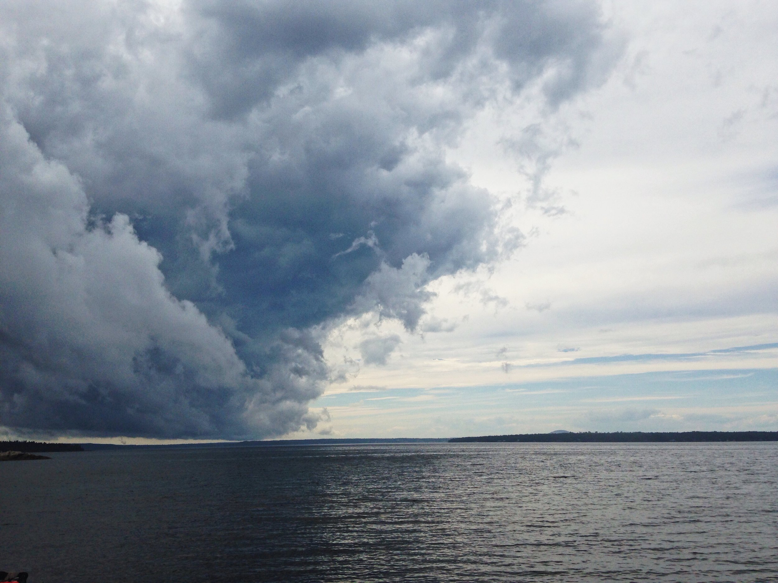 Storm coming in the direction of Bar Harbor, Maine.