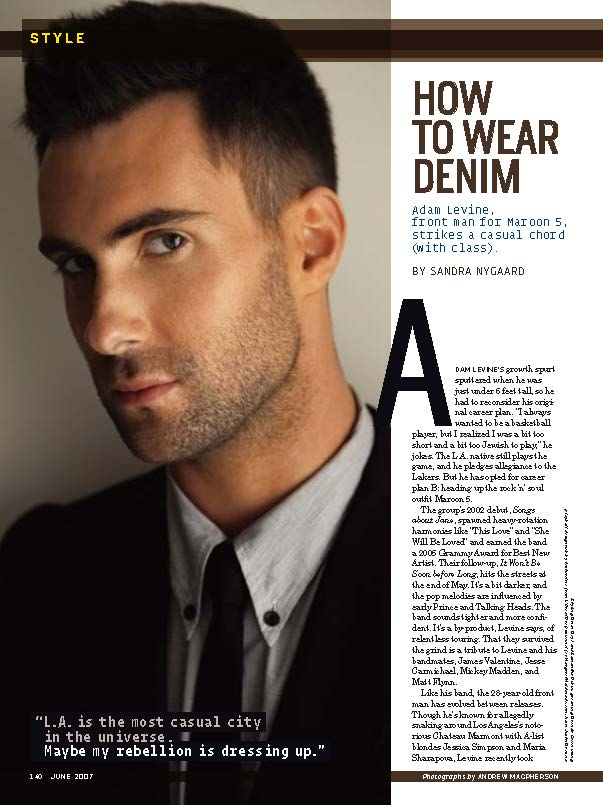 Adam Levine, Men's Health