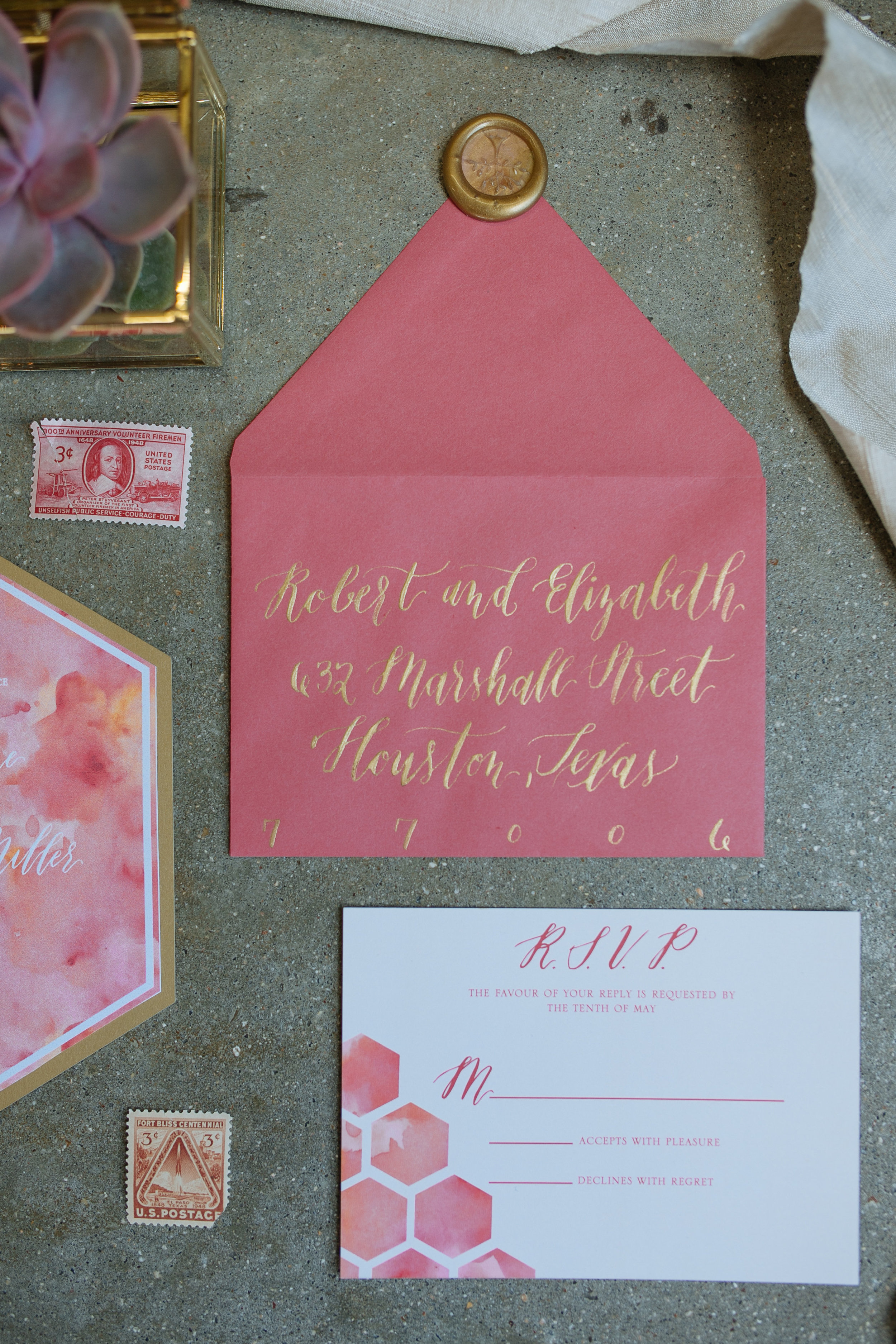 hexagon and pink and orange response card and hand lettered envelope.jpg