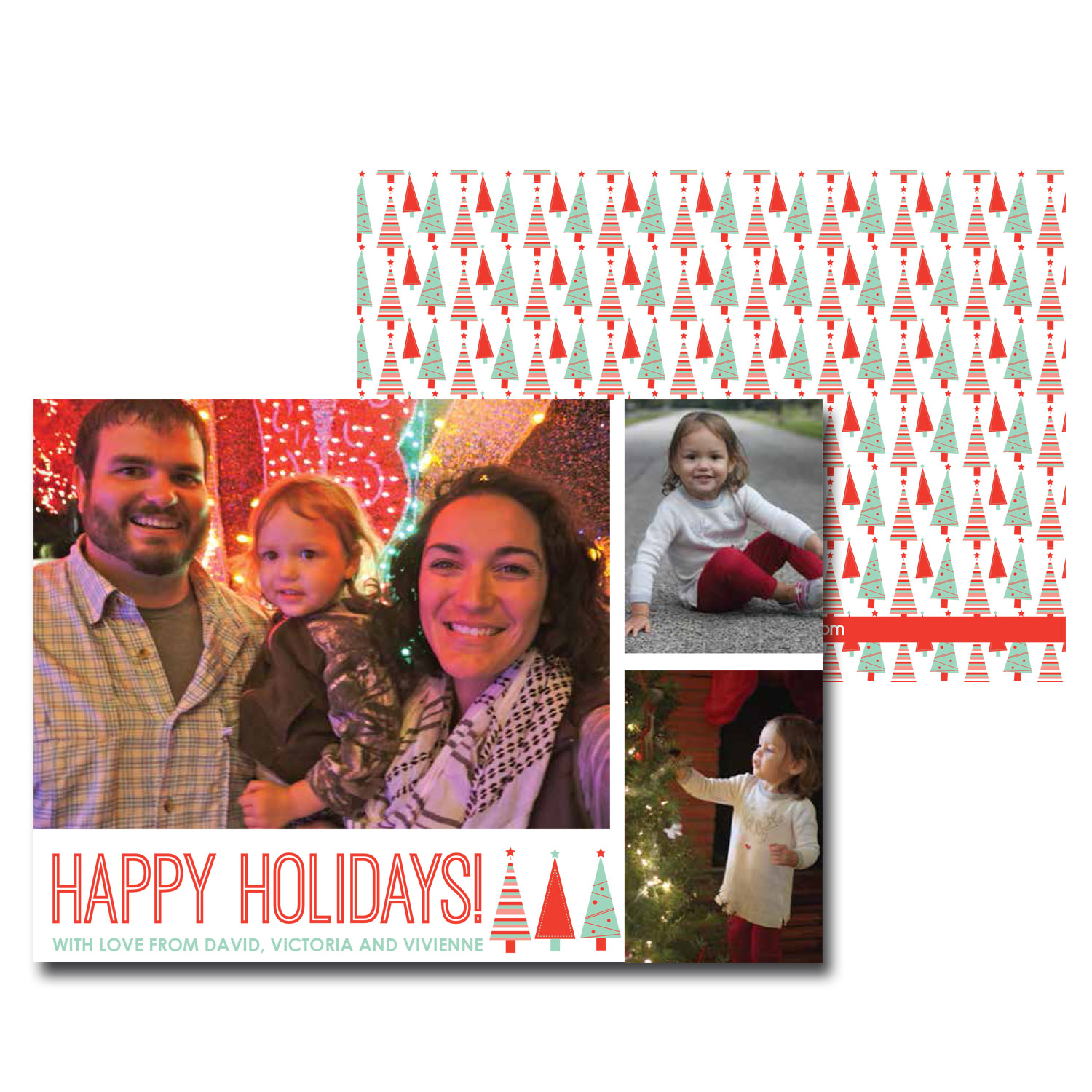 bright red and mint christmas card with photo.jpg
