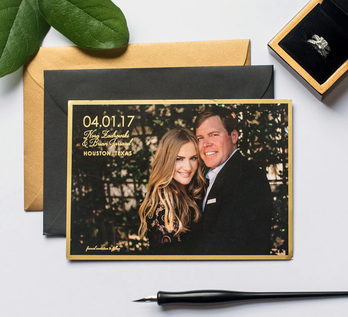 gold foil save the date with calligraphy and photo.jpg