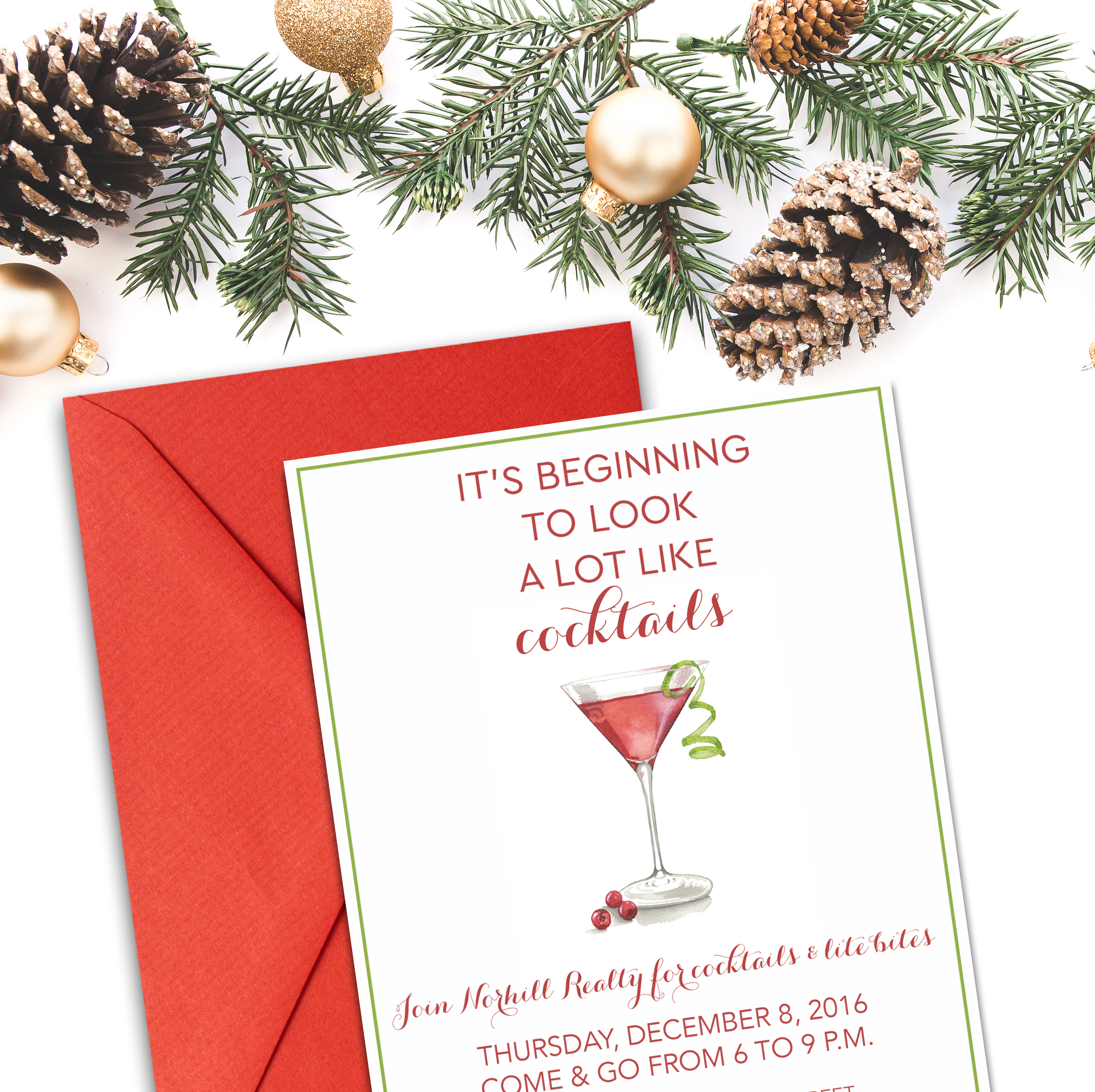 Norhill Realty is one of my favorite clients because I always get to design fun, cocktail themed holiday party invitations! This year's watercolor Christmas martini might be my favorite!
