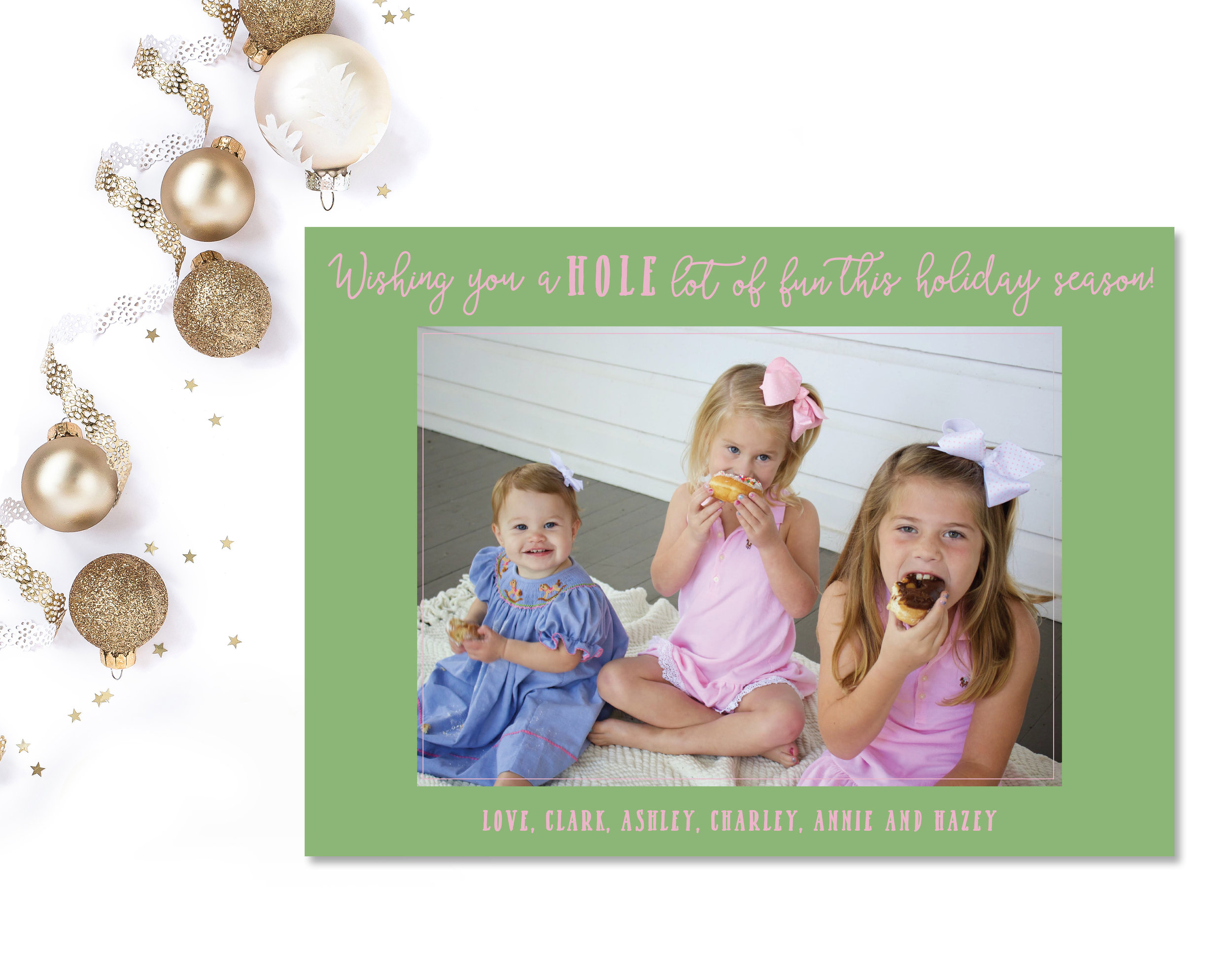 Ashley always has the best ideas for her holiday cards and this year was no different! I love the unique color palette we chose and the fun wording!