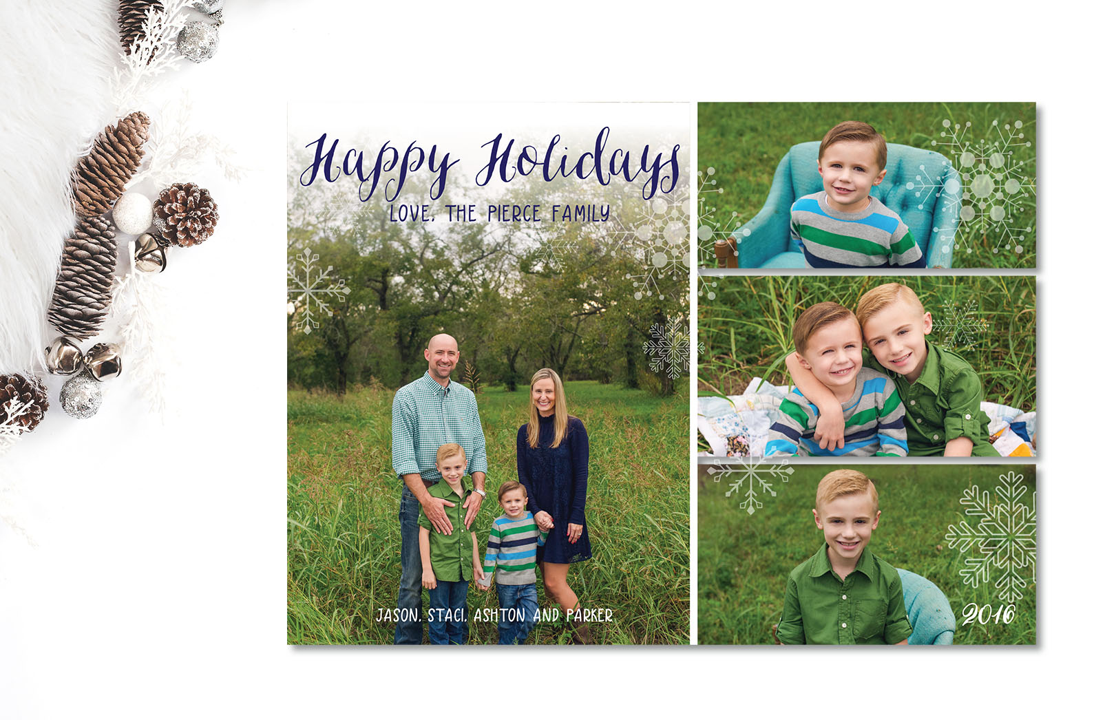 Staci had a BUNCH of photos she wanted to share of her sweet boys so I made sure to create a format that allowed for four photos on the front and five on the back!