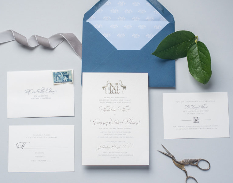 champagne foil traditional wedding invitation suite with calligraphy and custom monogram.jpg