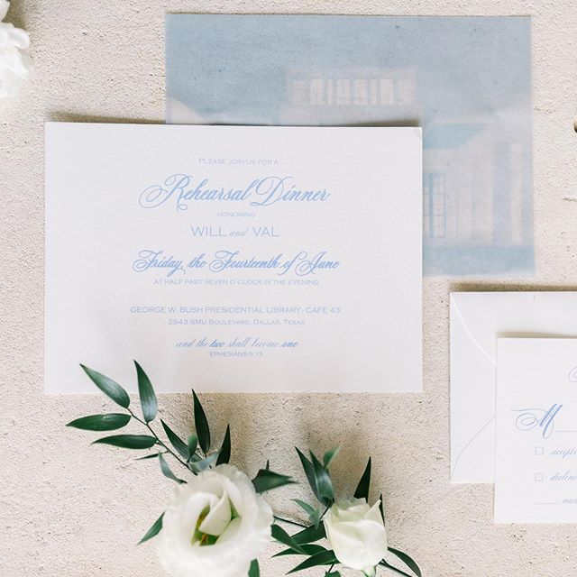 Happy #weddingwednesday y'all! I loved creating this special rehearsal dinner invitation for @thistlewyndproductions and her client! It was thermography printed (raised ink) and included a vellum overlay of the George W. Bush library (the venue) and even custom postage! It turned out beautiful, I can't wait to share more! 📷: @rebeccalangfordphoto