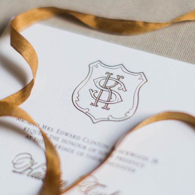 "It's #monogrammonday again! This crest took some work to get just right but man, isn't the final product gorg? I'm working on a comparison chart of custom invitations vs. ""dinted"" 😉 I think y'all are going to be pleasantly surprised! 📷: @lindseylaruephoto"