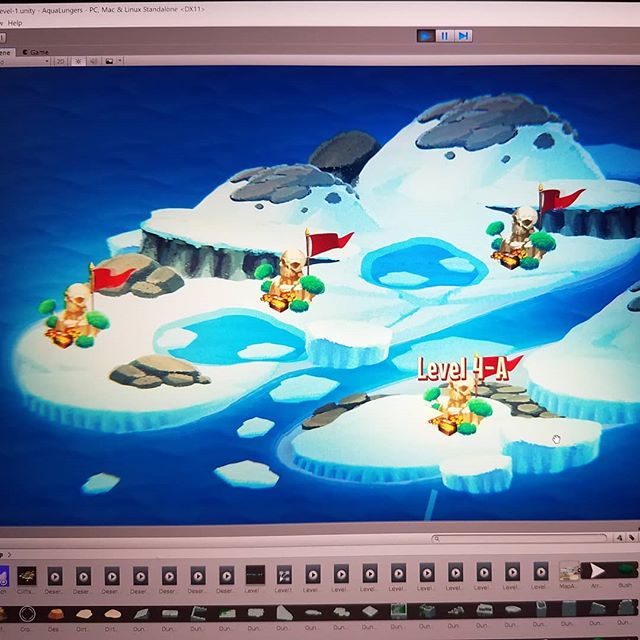 One step closer to completing the level select map in #AquaLungers ! V1.0 here we come!  #indiegame #gamedev #gameart #2dart #2dgame #painting #art #ocean #island #ice #winter #map #madewithunity #videogames #gamedesign