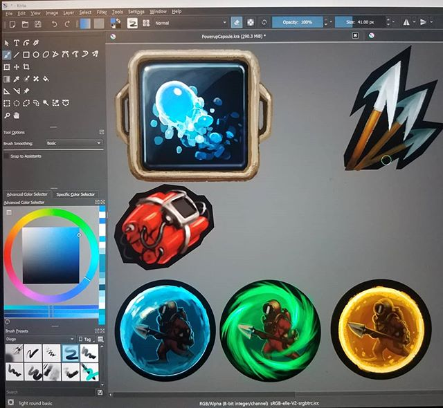 At @coralsword making nice progress on power up icons for #AquaLungers ! Still a few more to go!  #gamedev #gameart #indiegame #indiegamedev #2d #2dart #digitalpainting #icons #color #krita #wacom #water #ocean #water