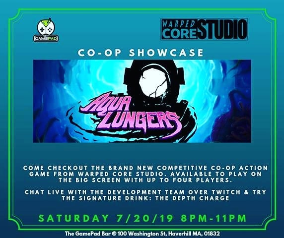 Hey everyone! @thegamepadbar will be hosting a showcase for #AquaLungers this Saturday July 20! Be sure to join them in person if you happen to be in the area or check out their live stream where you can watch gameplay for the upcoming full release of Aqua Lungers and enjoy chatting with me about the game!  #livestream #indie #indiegame #chat #bar #videogames #2dgame #2dart #drinks #event #boston #underwater #monsters #creatures #localmultiplayer #splitscreen #4player #projector