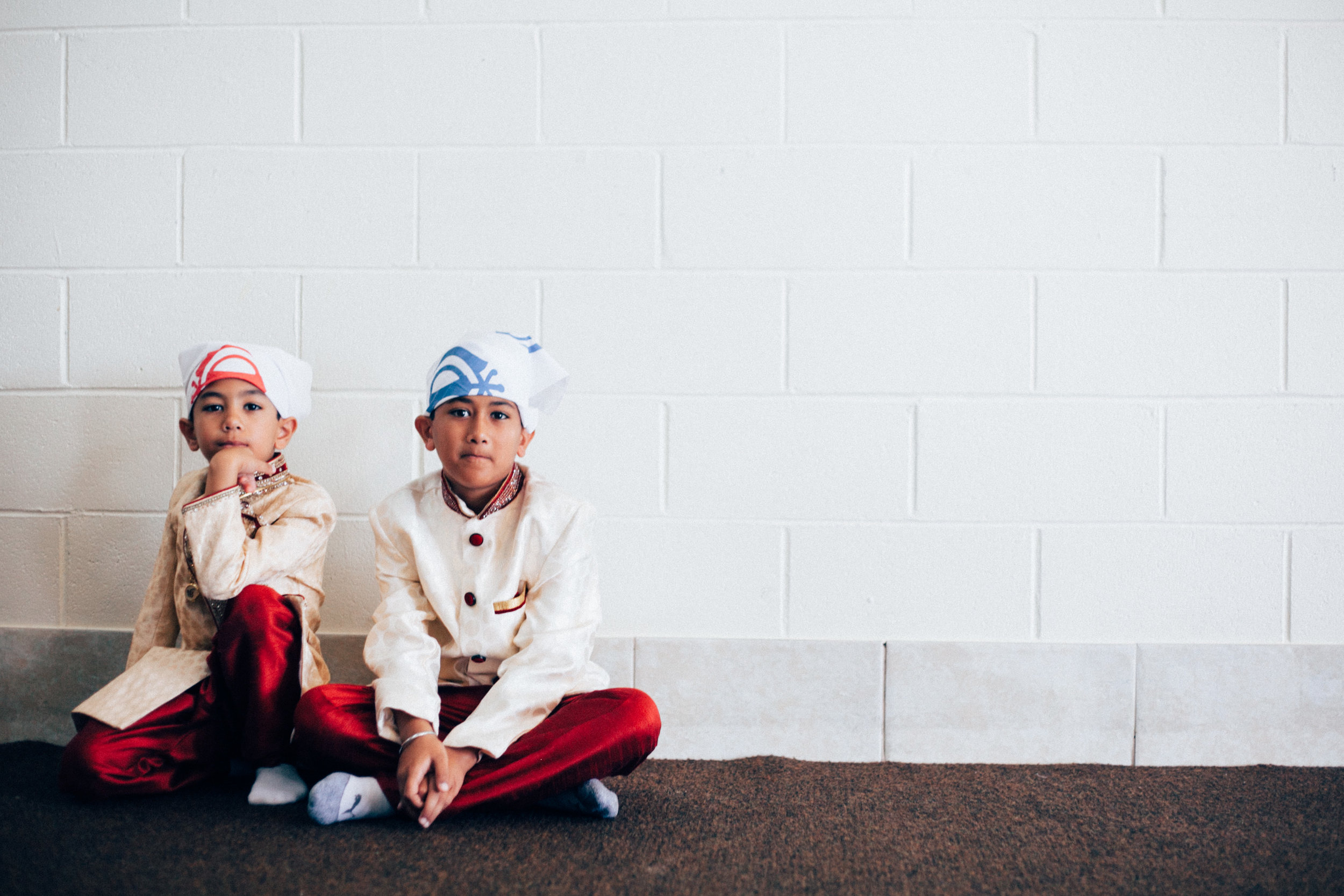 Two kids at the Sikh wedding