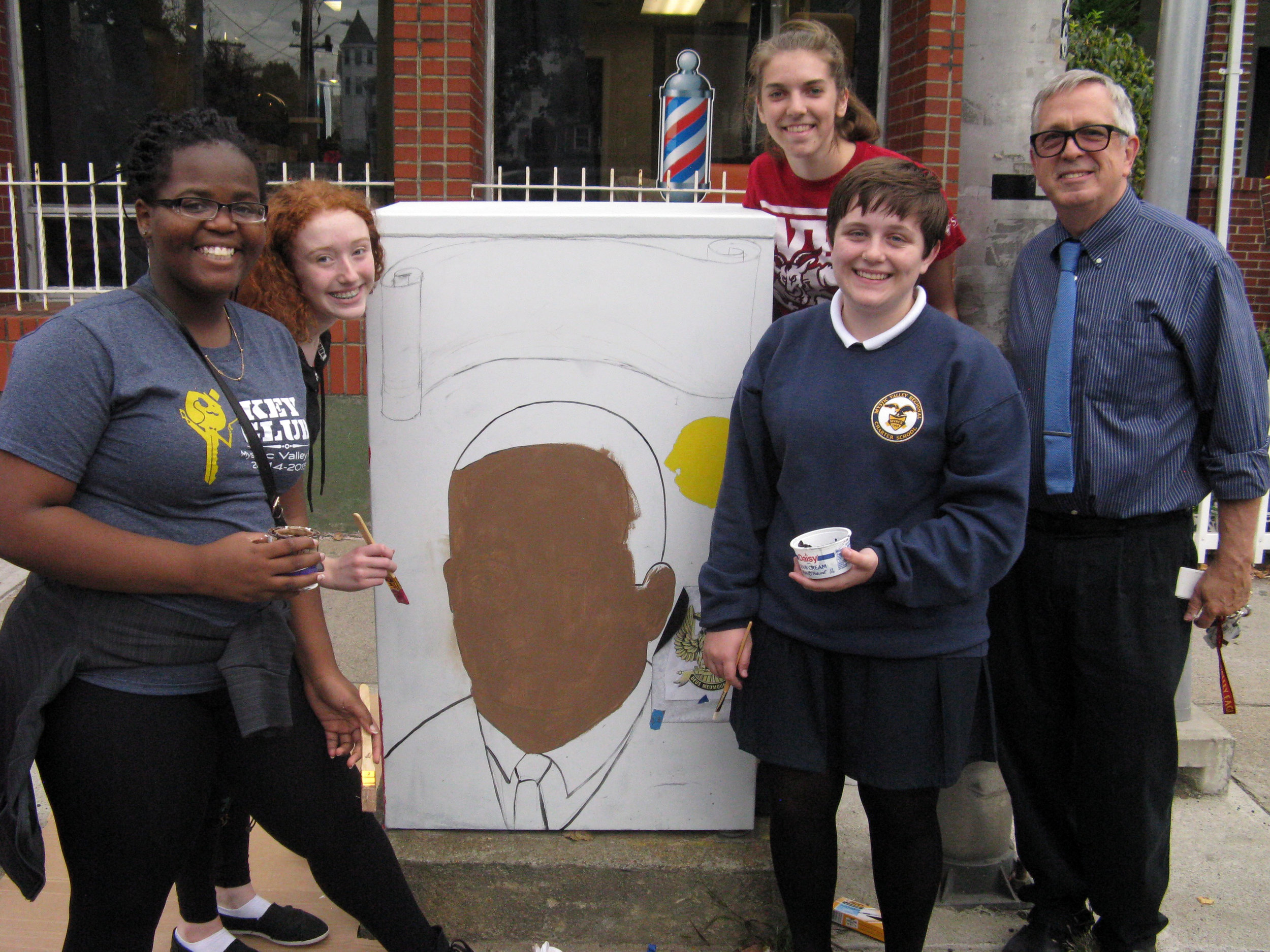 The Mystic Valley art club paints a switch-box in honor of Malden City Council's first African American member, Herbert L. Jackson.