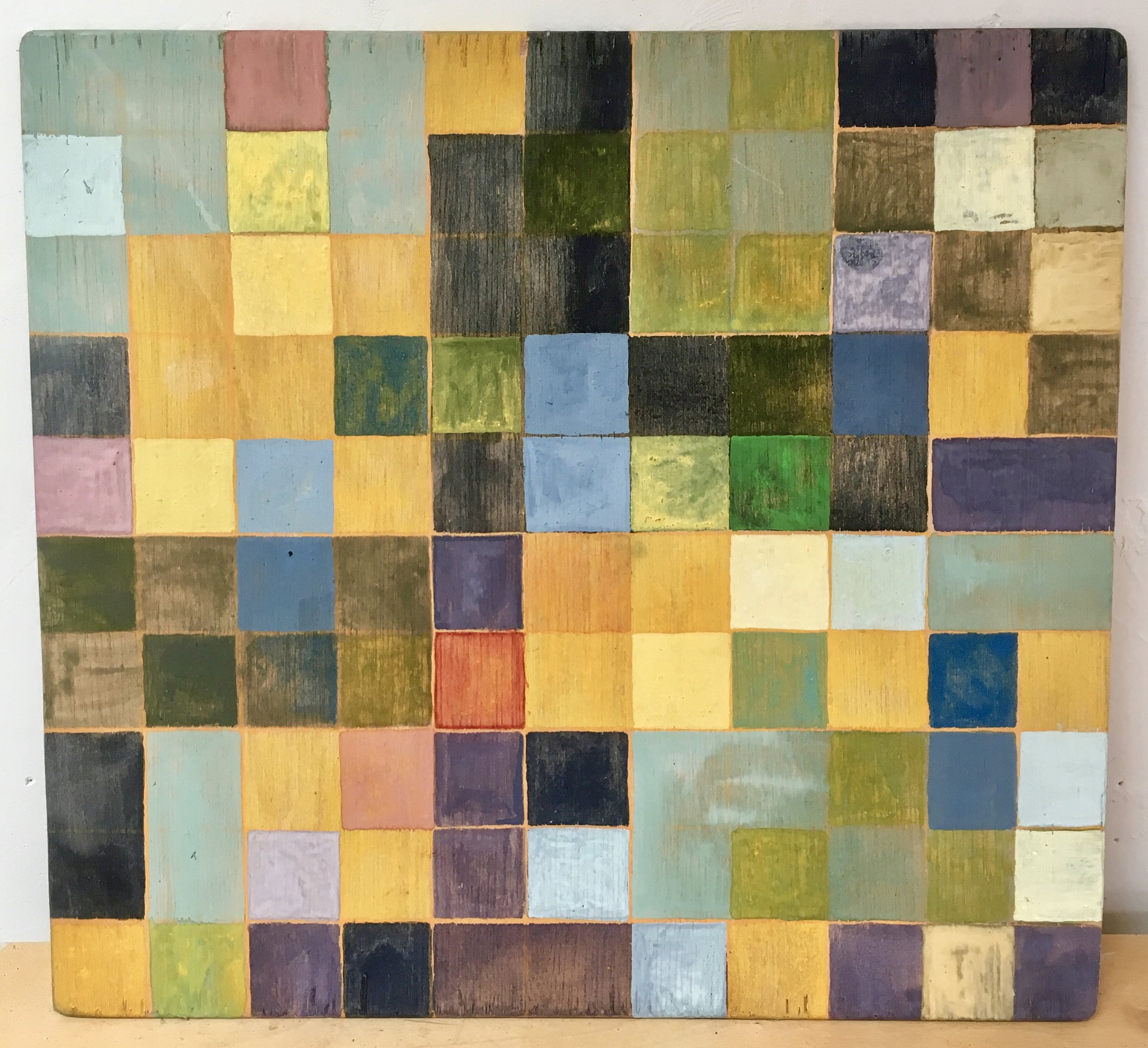 """HIDDEN COLOR #2: PLANT & STONE PIGMENTS + ONE SYNTHETIC COLOR ON 10""""x 11"""" WOOD PANEL //PAINTING + COLOR CONVERSATION, $77.00 — $111.00, sliding scale       SOLD"""