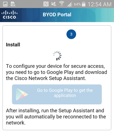 Step 3 - User is guided to download the Network Assistant Wizard from the Google Marketplace (Android Only)