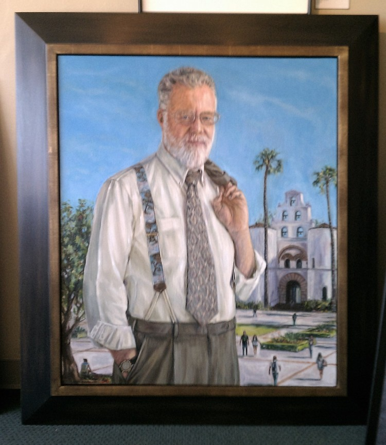 Official portrait Of retiring S.D.S.U. president Dr. Weber, painted by Gail Roberts.