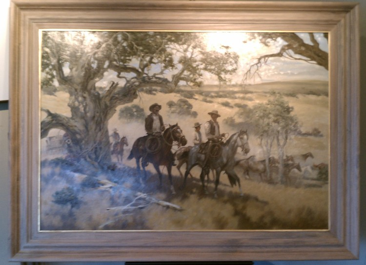 We hand finished this frame to match the oaks and dry grass of the painting.