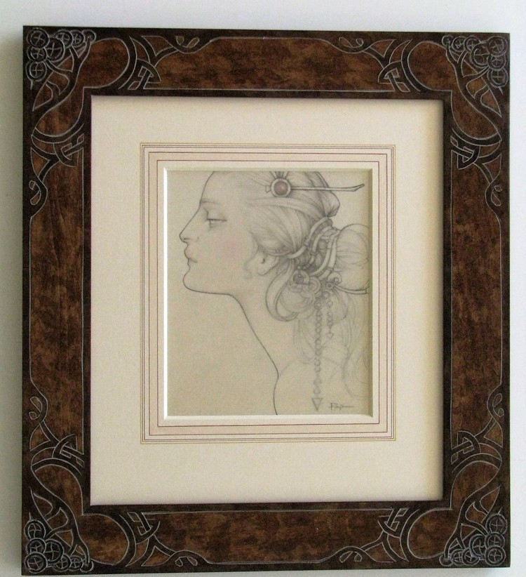 Carved frame and painted mats to bring the art nouveau style of this drawing.