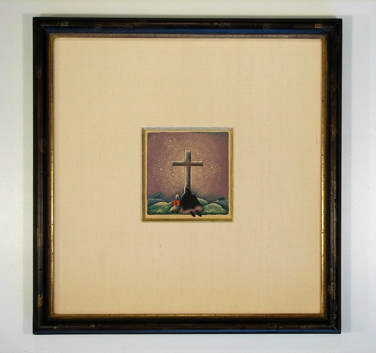 Hand finished frame with silk mat guilded bevel.