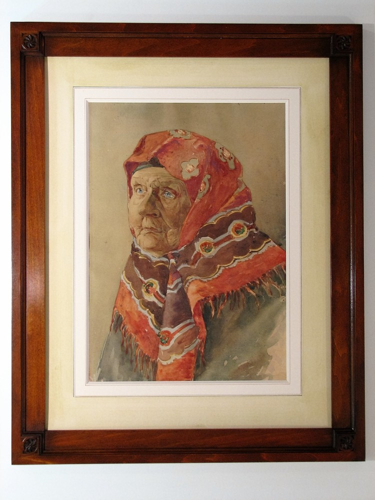 1910 watercolor, hand painted mat and carved frame.