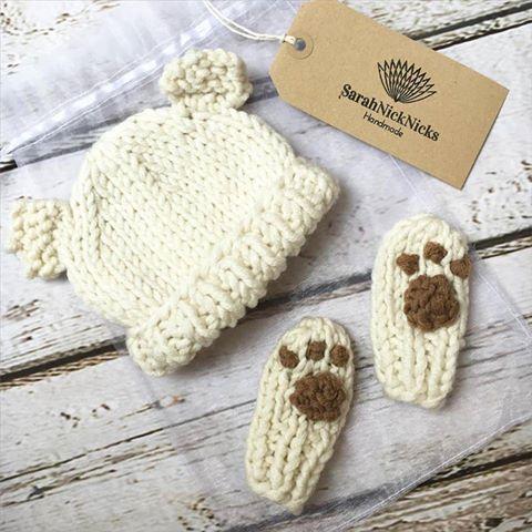 handmade cream baby bear cub hat and paws mittens sarahnicknicks handmade