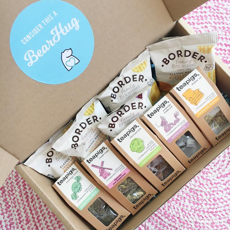 post pals teapigs tea and border biscuits bearhugs gift hamper charity