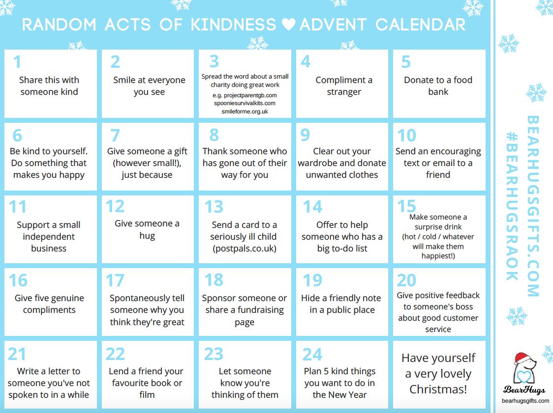 random acts of kindness advent calendar bearhugsraok