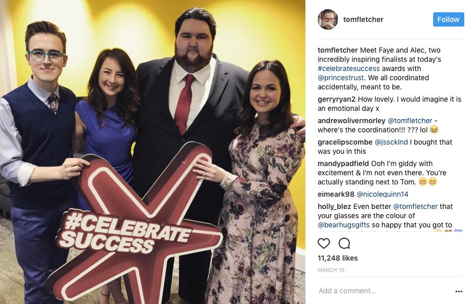 tom fletcher bearhugs celebrate success