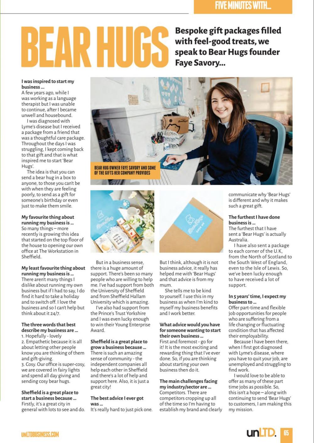 BearHugs Faye Savory Feature in UnLtd Magazine Sheffield