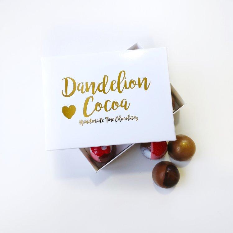 dandelion cocoa truffles hug box gift ideas