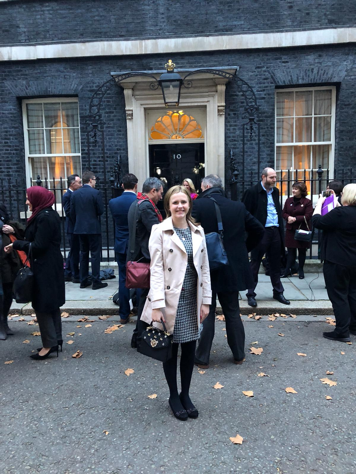 laura bearhugs downing street disability confident.JPG