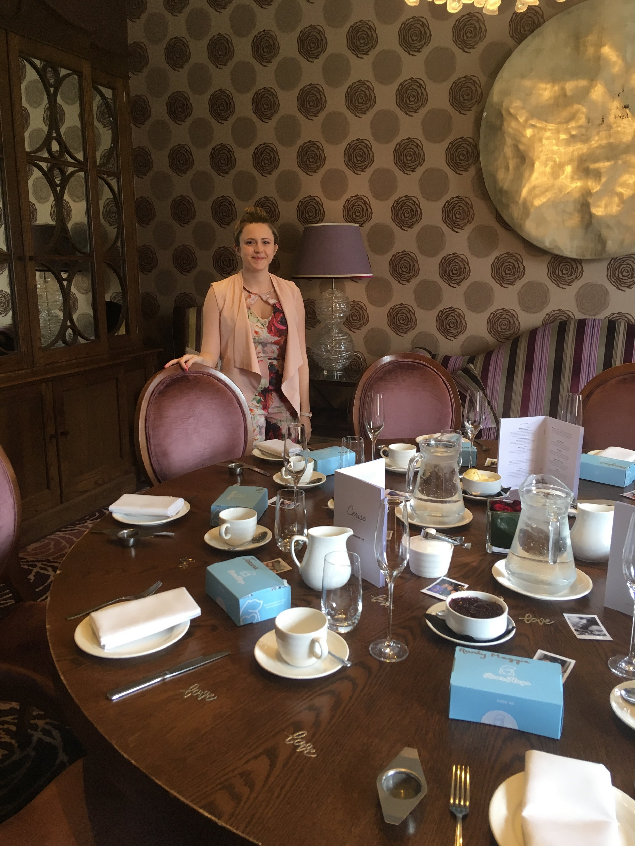 laura at afternoon tea hen do with bearhugs table party favours.JPG