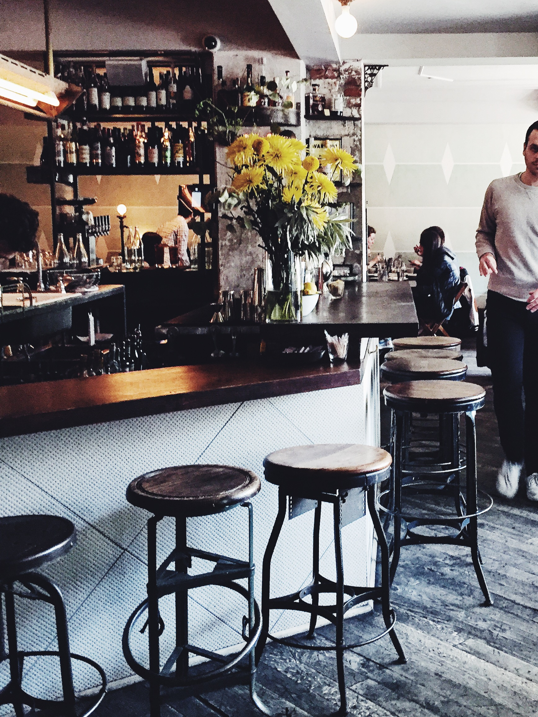 The bar at Glasserie in Greenpoint Brooklyn