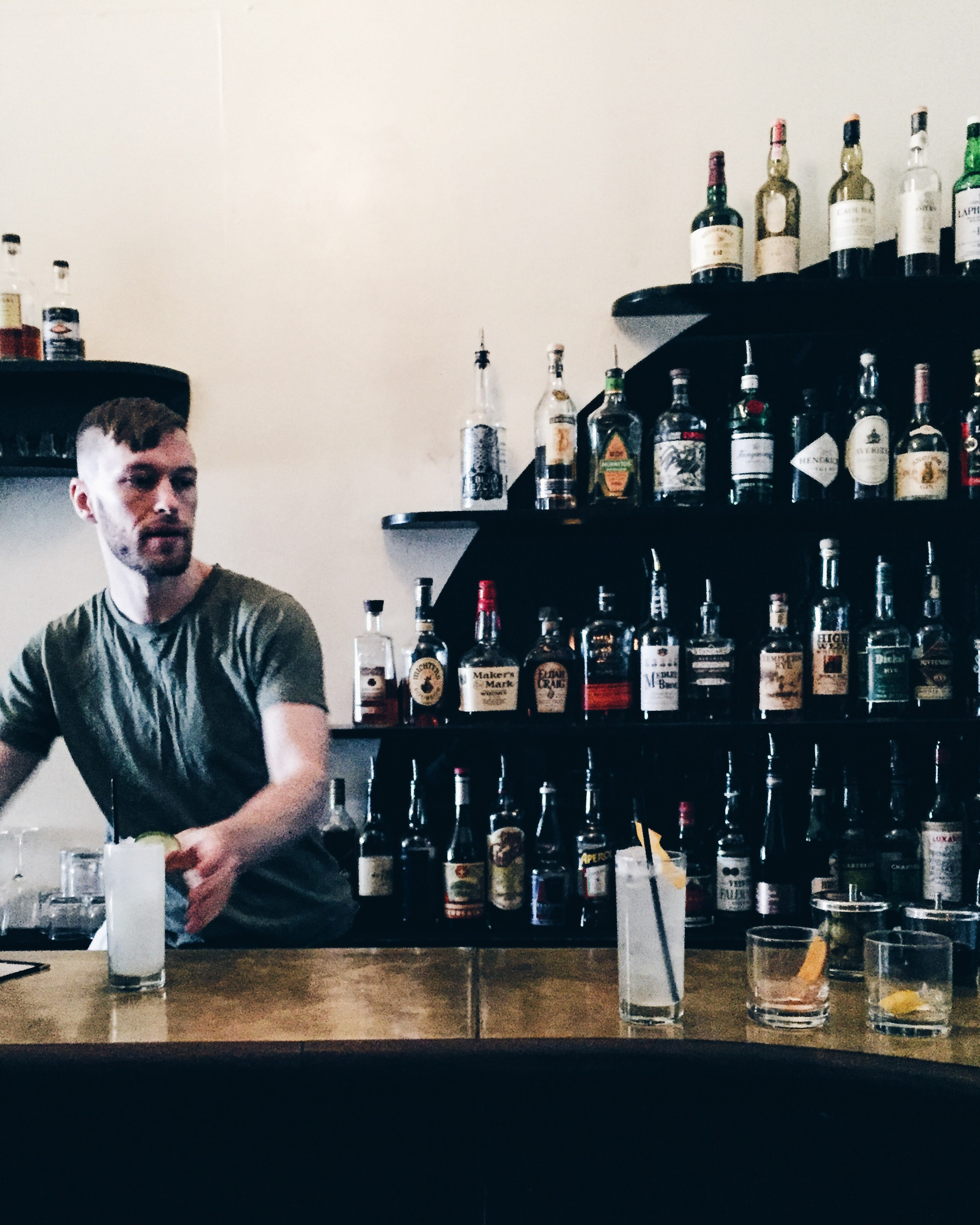 Brass-topped bar