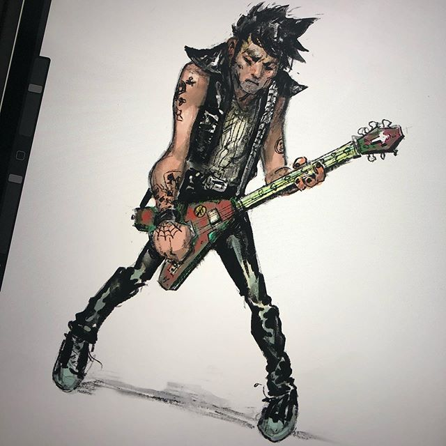 Another sketch from my limited time with iPad Pro and Apple Pencil. Most people seem to draw a human eye to test brushes and such.. i default to Flying V punks? .. . .. #sketch #punk #cartoon #stylized #animation #art #applepencil #drawing #band #flyingv #metal #stripes #conceptart #nyc #artist #procreate #sketch #ipadpro #characterdesign #artistsoninstagram