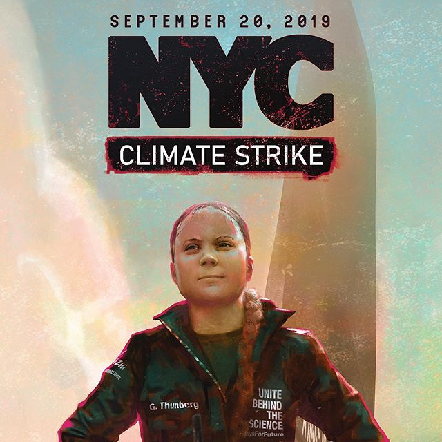 "Final flyer for the #climatestrikenyc flyer. Check my profile for a link to full res versions to print yourself. There are textless versions also, supposing anyone wants to make flyers for other events or what not. —  Storytime!  I've been struggling with how to use my work lately. All of my experience is in game design and thats felt quite hollow as an endeavor these last few years. I decided to look towards other inspirations for my personal work and just see where it goes. I started with this illustration of @gretathunberg arriving in NYC because it's such a monumental moment for this movement. She faces constant nonsense detractors who imagine scenarios where she's somehow hypocritical or unethical or even ""used"" by the media... all in an attempt to ease their own anxiety and stoke their ignorance. So here she is- proving undeniably that she is every bit as powerful as the words she wields- stomping her foot on US soil after crossing the ocean on a carbon neutral sailboat. I'll be joining her again on this trek next week, family in tow 🤘 .. ... .. #fridaysforfuture #climatestrike #schoolstrike4climate #nyc #flyer #gretathunberg #poster #climatestrikenyc @fff.nyc #painting #sketch #digitalart #artonlink #artonlinknyc #illustration #gretathunberg #rallywithus"