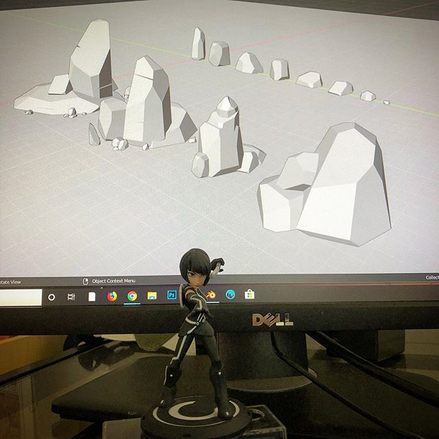 Been in work from home mode so long that Quorra down there talks more than I do. ... ... .. ... #blender #quorra #3Dart #conceptartist #artistsoninstagram #modeling #tron #solarpunk #lowpoly #blender28 #wfh #desert #gamedesign #gameart #videogames #illustration
