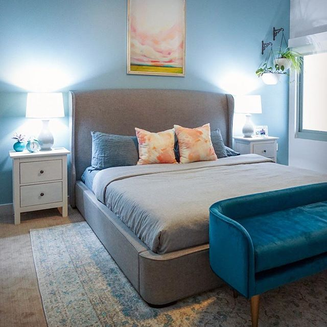 Excited to share this project! From standard painter's white walls to a beautiful aqua to bring this room to life. Having lived here for a few years without having that 'finished' feeling in her bedroom, my client decided no time like the present to make it happen. It turned out great! — a calming and peaceful bedroom.⠀ .⠀ .⠀ .⠀ #interiordesign #interiorinspo #apartmenttherapy #howwedwell #howyouhome #myhousebeautiful #3Ddesign #mywestelm #mintedart #wayfairathome #tetrachromedesign
