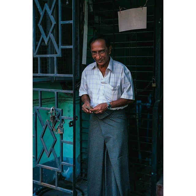 A man on the streets of Yangon, Myanmar.
