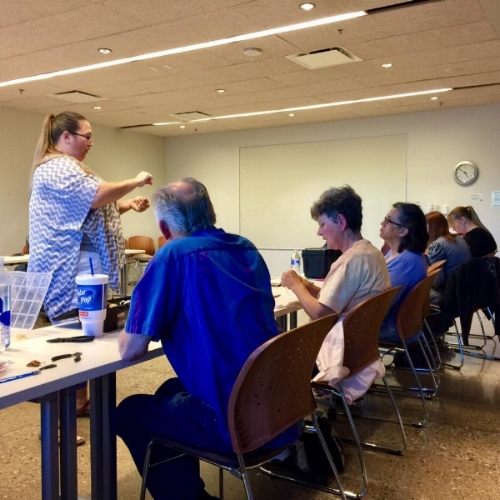 Jennifer Gecho teaching our Wire Wrapping Class.