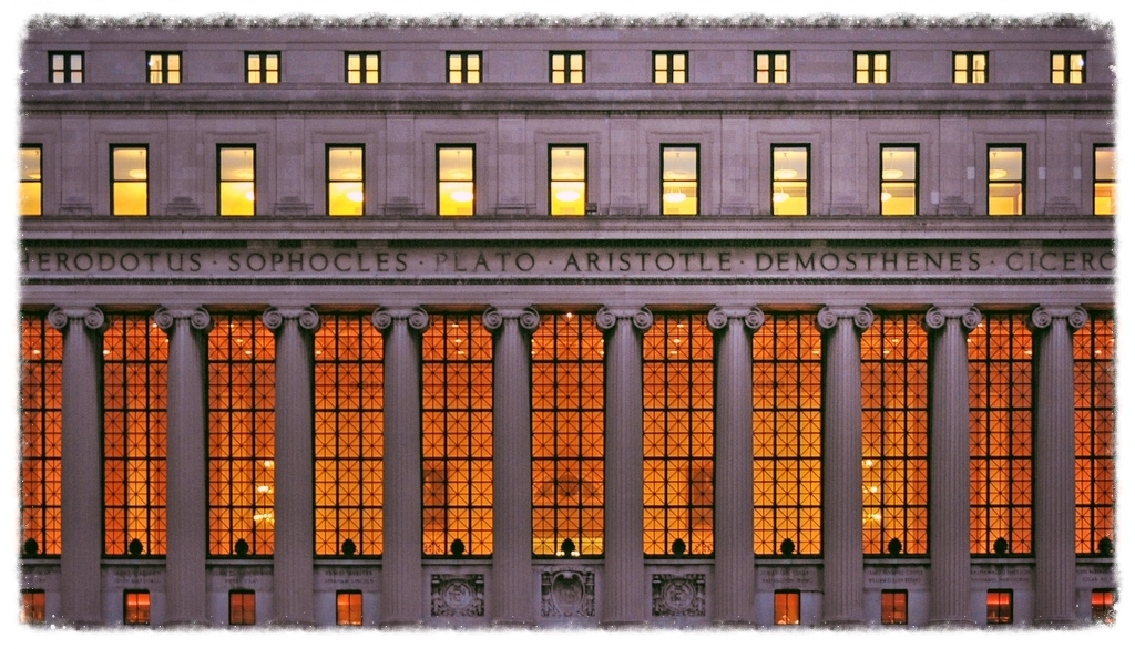 Greek and Roman philosophers mark the facade of Butler Library at Columbia University
