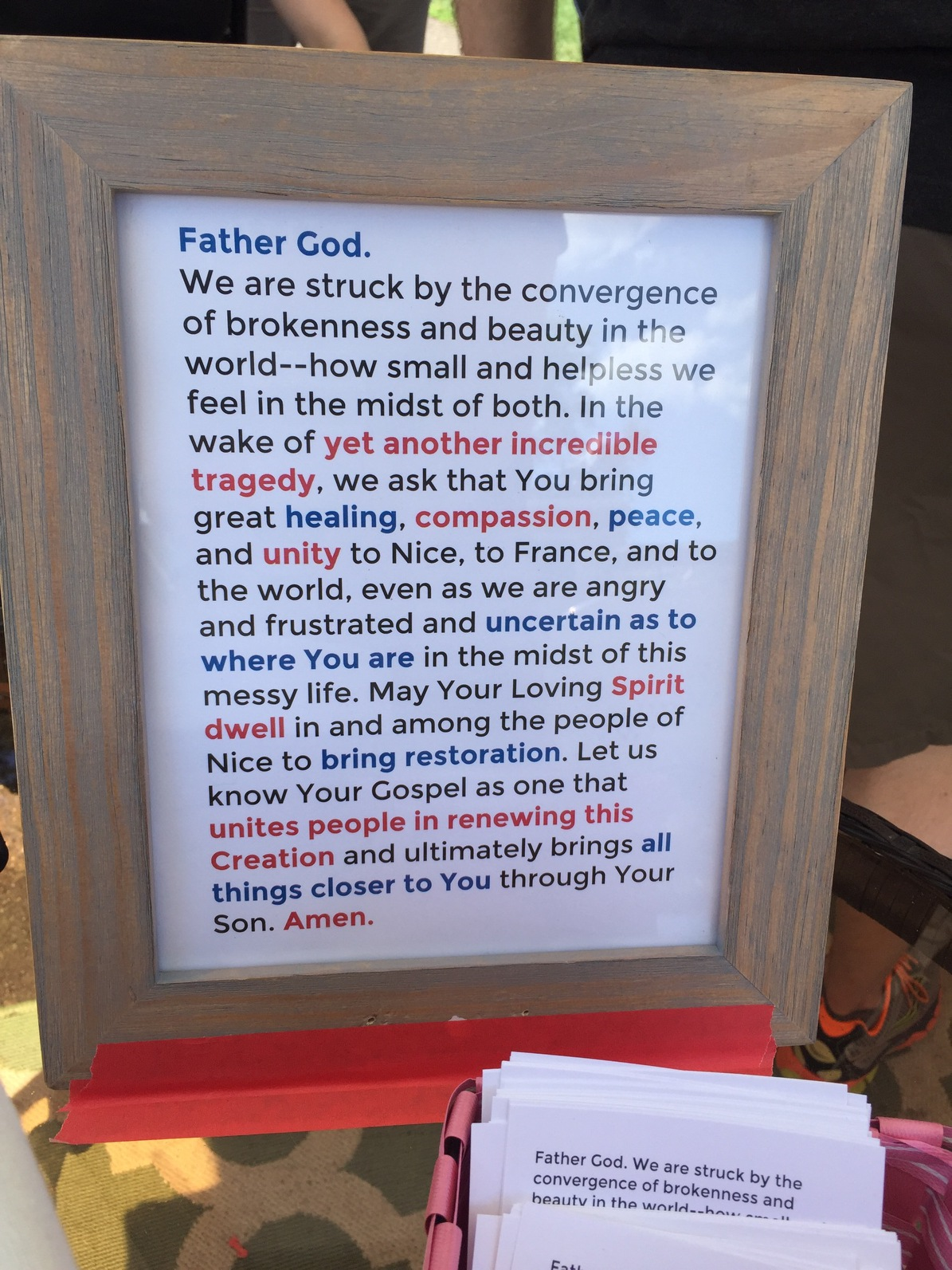 The prayer for Nice written by Chelsea   Berglund.