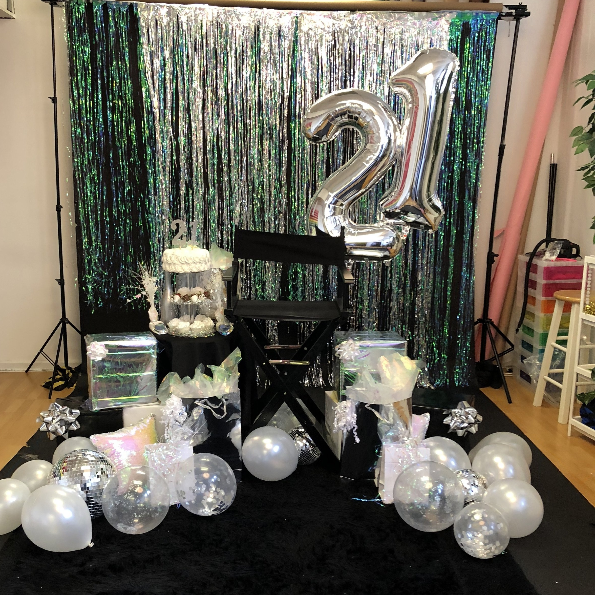 Scene Design Is Example And Is NOT LIMITED To Color Scheme Presented.   Client Provided Pre-Filled Helium Numbers (floor balloons provide by photographer)